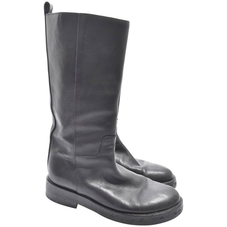 demeulemeester black leather knee length boots