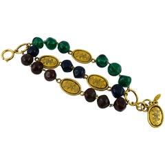 Chanel Vintage Gripoix Glass Bead and Crowned CC Coin Triple Strand Bracelet