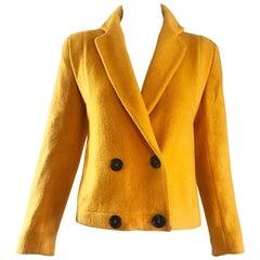 1990s Geoffrey Beene Mustard Yellow Vintage 90s Wool Cropped Blazer Jacket