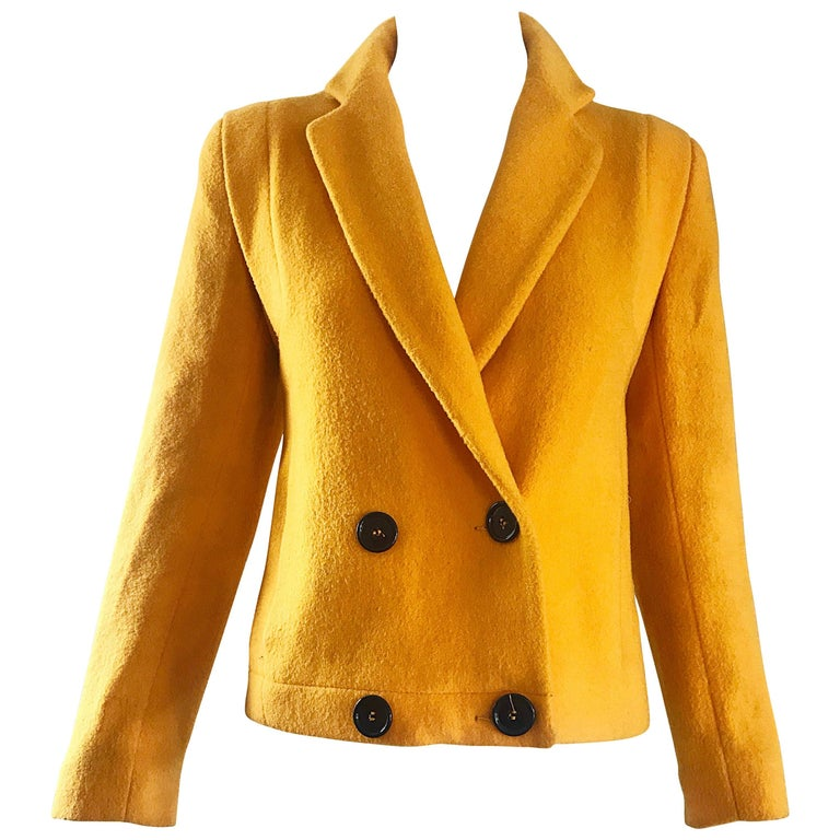 4724a82f4863 1990s Geoffrey Beene Mustard Yellow Vintage 90s Wool Cropped Blazer Jacket  For Sale