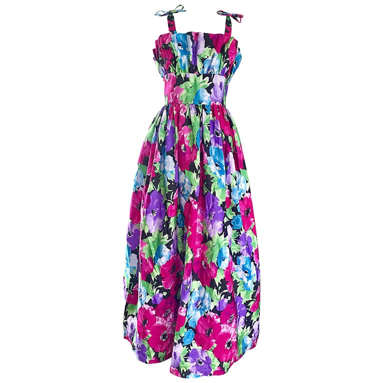 Amazing Vintage Victor Costa Size 16 Tropical Hawaiian Avant Garde Maxi Dress  For Sale
