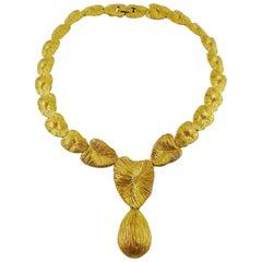 Balenciaga Vintage Gold Toned Abstract Heart Necklace
