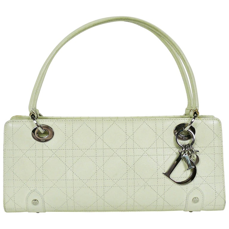 Christian Dior Off White Cannage East West Lady Dior Handbag