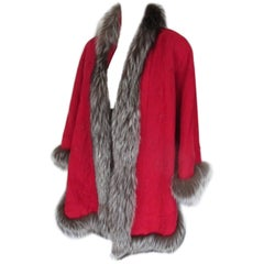 Red suede leather cape with silver fox fur