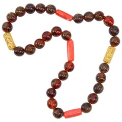Antique Tibetan Natural Amber Coral and Gold Bead Necklace Estate Fine Jewelry