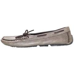 Bottega Veneta Grey Leather Driving Loafers Sz 38.5