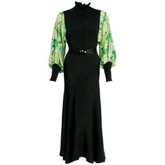 1930's French Black & Green Print Silk Billow Sleeve Smocked Bias-Cut Dress