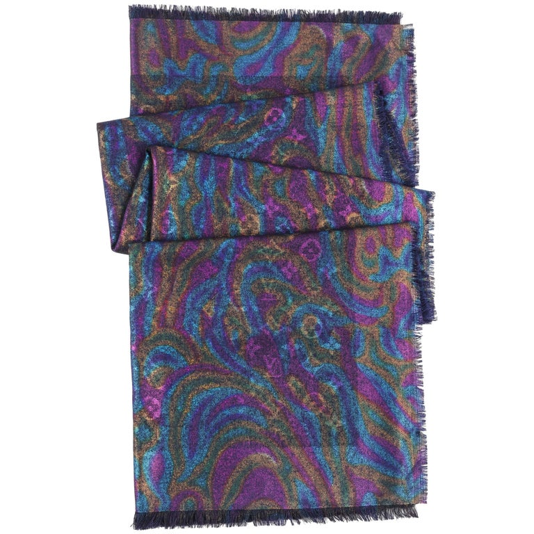 LOUIS VUITTON A/W 2011 Midnight Blue Multicolor Monogram Silk Wool Scarf / Shawl