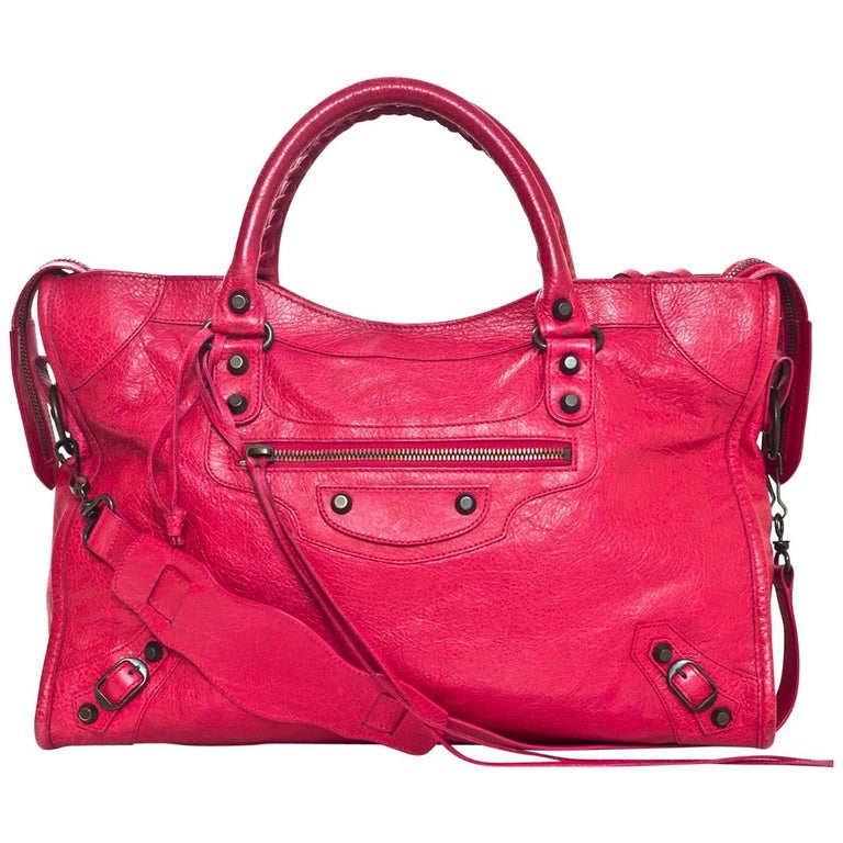 Balenciaga Rose Thulian Pink Agneau Lambskin City Motorcycle Bag with DB