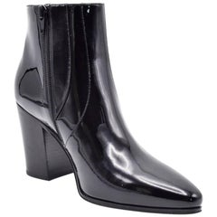 Saint Laurent Black Patent Leather Zip Up French Ankle Boots