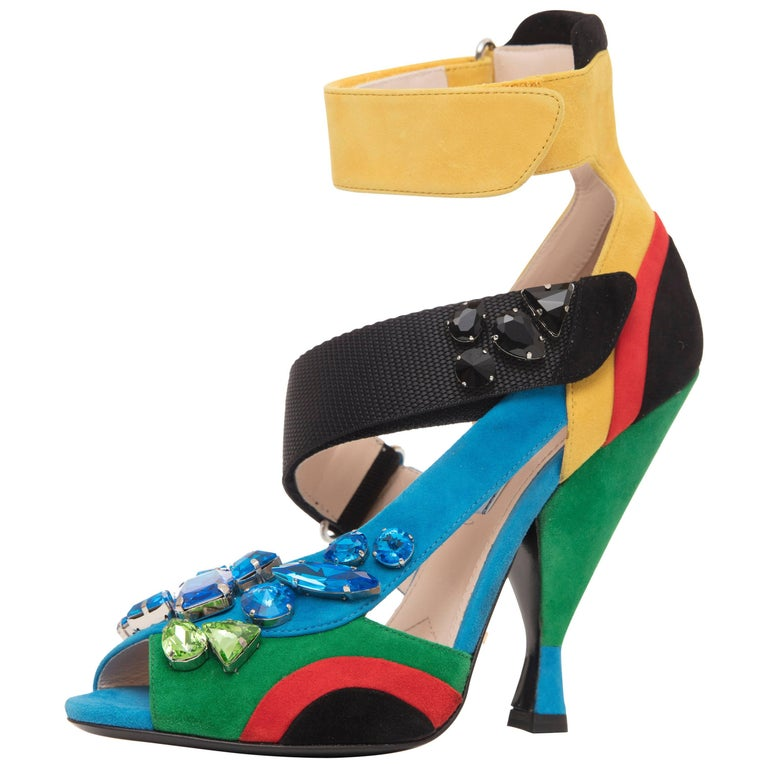 Prada Suede Sandals With Jewel Embellishments, Spring 2014 For Sale