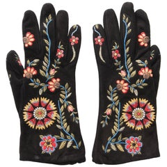 John Galliano For Christian Dior Black Suede Embroidered Gloves