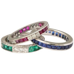 Wedding Bands of Diamonds, Sapphires, Rubies and Emeralds Set in Platinum