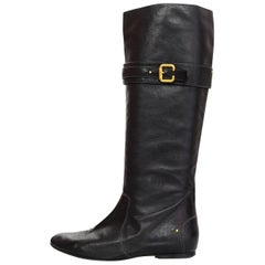 Chloe Navy Leather Flat Paddington Boots Sz 40.5