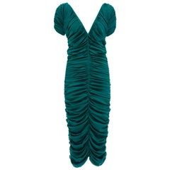 Zac Posen Teal Silk Ruched Dress, Fall 2004