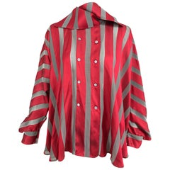 Gianfranco Ferre red and grey silk stripe unique sleeve swing blouse 1990s