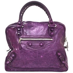 Balenciaga Purple Agneau Lambskin Covered Giant Brogues Office Bag