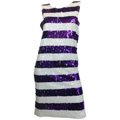Gene Ewing Striped Sequin Shift Dress