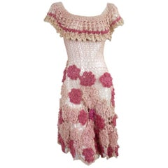 Vintage Hand Crochet Floral Rayon Dress