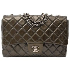 Chanel Patent Leather Olive Single Flap Bag