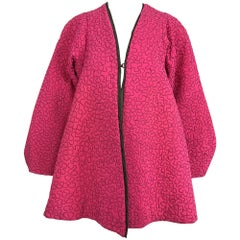 Zandra Rhodes 1980s hot pink squiggle quilted swing jacket