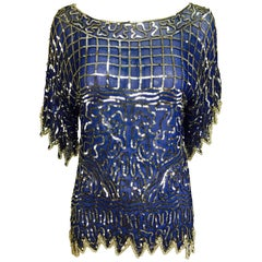 Swee lo blue silk silver sequin and beaded top 1970s