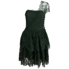 Chloe one shoulder green lace tiered cocktail dress 1980s