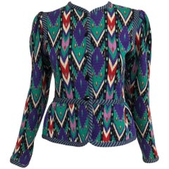 Yves Saint Laurent colourful geometric cardigan sweater 1970s