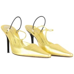 Giuseppe Zanotti 1990s Metallic Gold Leather Slingback Pumps With Rhinestones