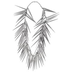 Burberry Prorsum Gunmetal Long Spike Chain Statement Necklace 2010