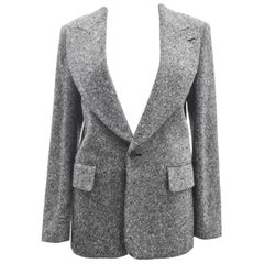 Comme des Garcons Grey and White Wool Woven Sports Jacket 2001
