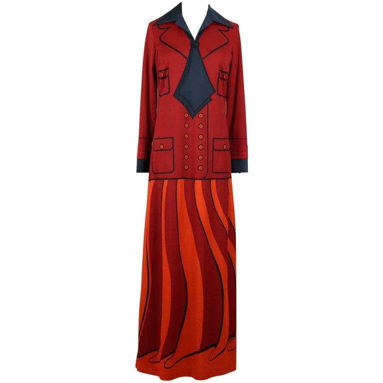 Roberta di Camerino Red Orange Jersey Trompe l'Oeil Print Maxi Dress, 1970s