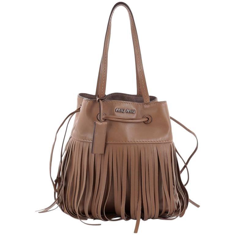 Miu Fringe Shoulder Bag Leather Medium For