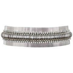 Gianni Versace Silver Metal Mesh Waist Belt With Rhinestones, 1980s