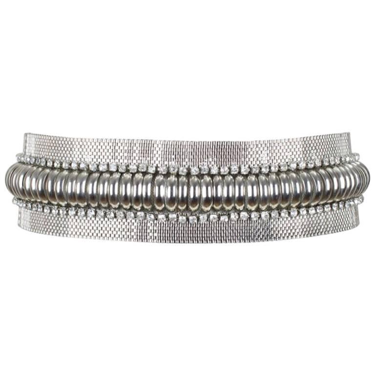 Gianni Versace Silver Metal Mesh Waist Belt With Rhinestones, 1980s  For Sale