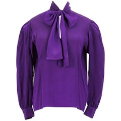 Yves Saint Laurent YSL Purple Silk Bow Tie Blouse Gathered Shoulder, 1980s