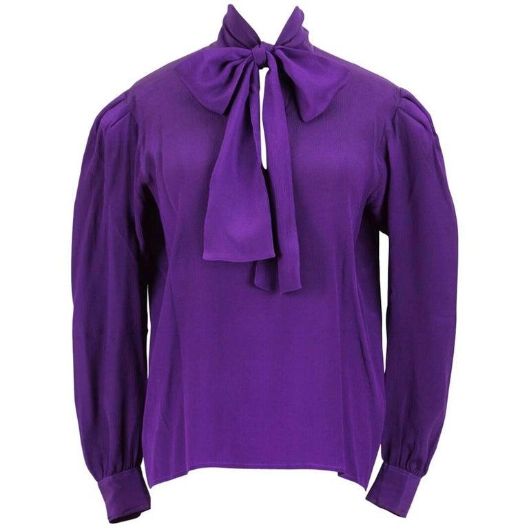Yves Saint Laurent YSL Purple Silk Bow Tie Blouse Gathered Shoulder, 1980s