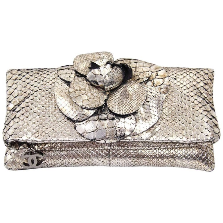 2000s Chanel Silver Python Leather Clutch