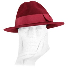 Jean Paul Gaultier 1990s Wine-Red Rabbit Felt Fedora Hat
