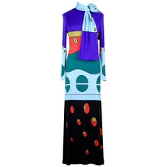 Louis Féraud Jersey Mod Maxi Dress With Matching Scarf, 1970s