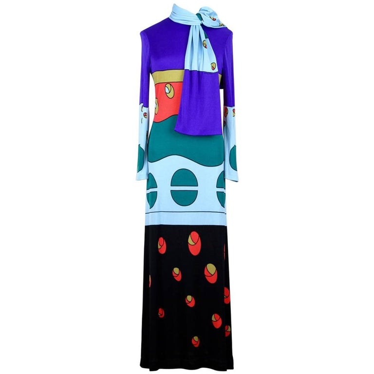 Louis Féraud 1970s Jersey Mod Maxi Dress With Matching Scarf