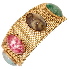 20th Century Gold Metal Mesh & Lucite Cabochon Stone Bracelet By, Coventry
