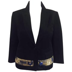 Dynamic Dries Van Noten's Black Jacket w. Applique Band in Silver & Blue Stone