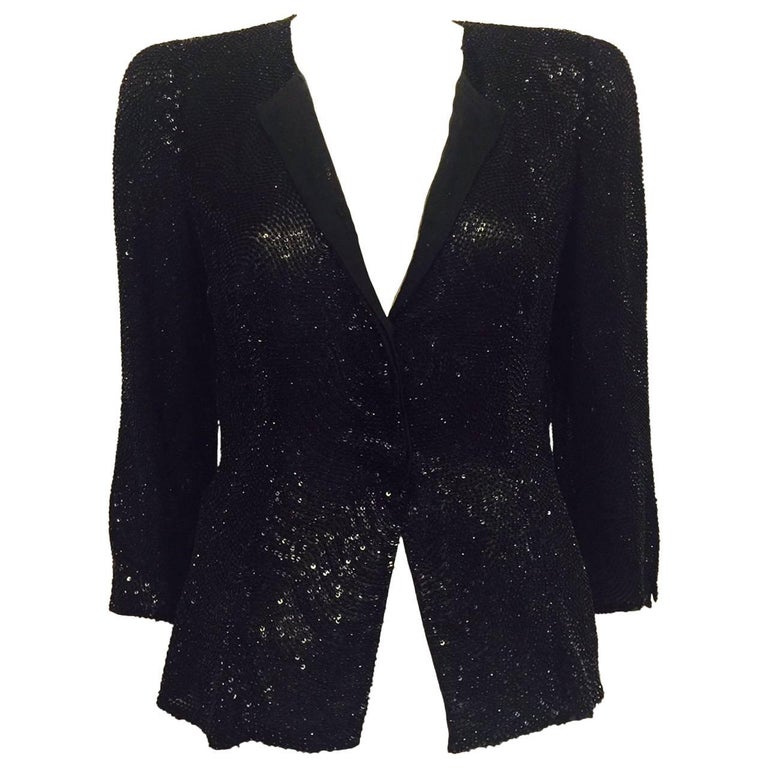 Astonishing Giorgio Armani Black Silk Embroidered Jacket W. Sequins & Beads