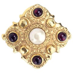 Chanel Goldtone Pearl and Faux Garnet Brooch