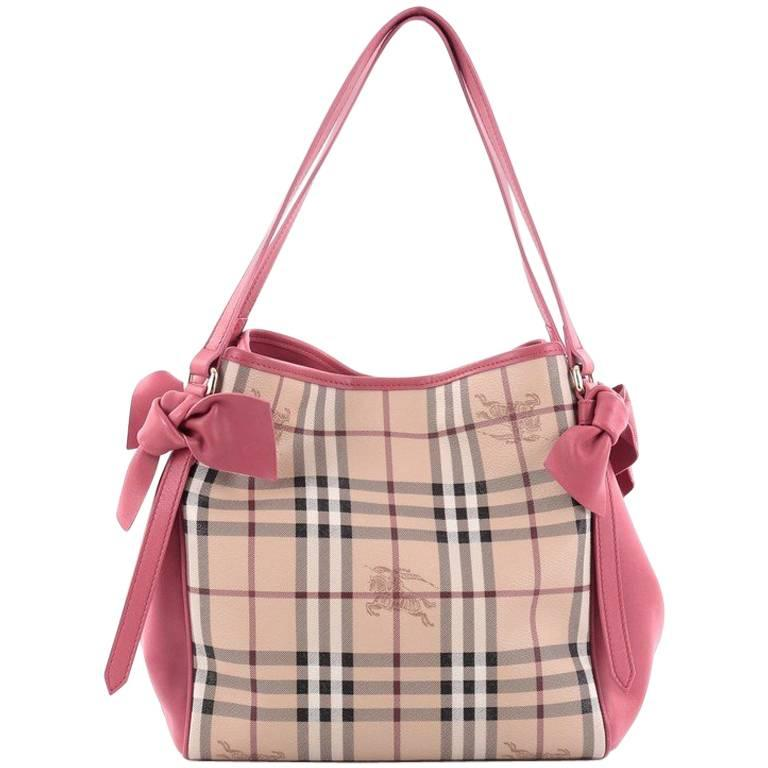 5ecec9f03dac Burberry Canterbury Bow Tote Haymarket Coated Canvas and Leather Small at  1stdibs