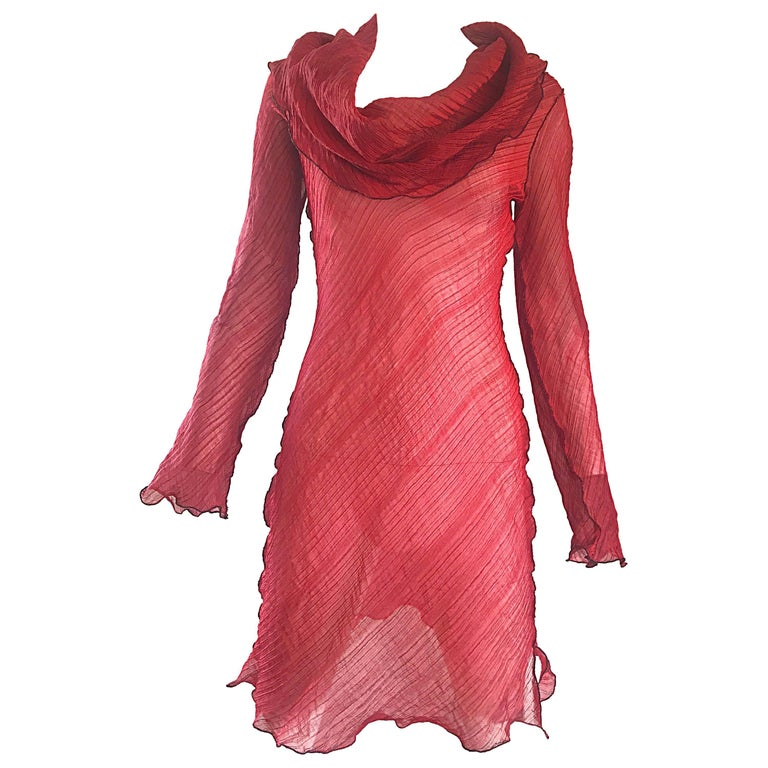 Cari Borja Red Semi Sheer Cowl Neck Silk / Rayon Tunic Dress