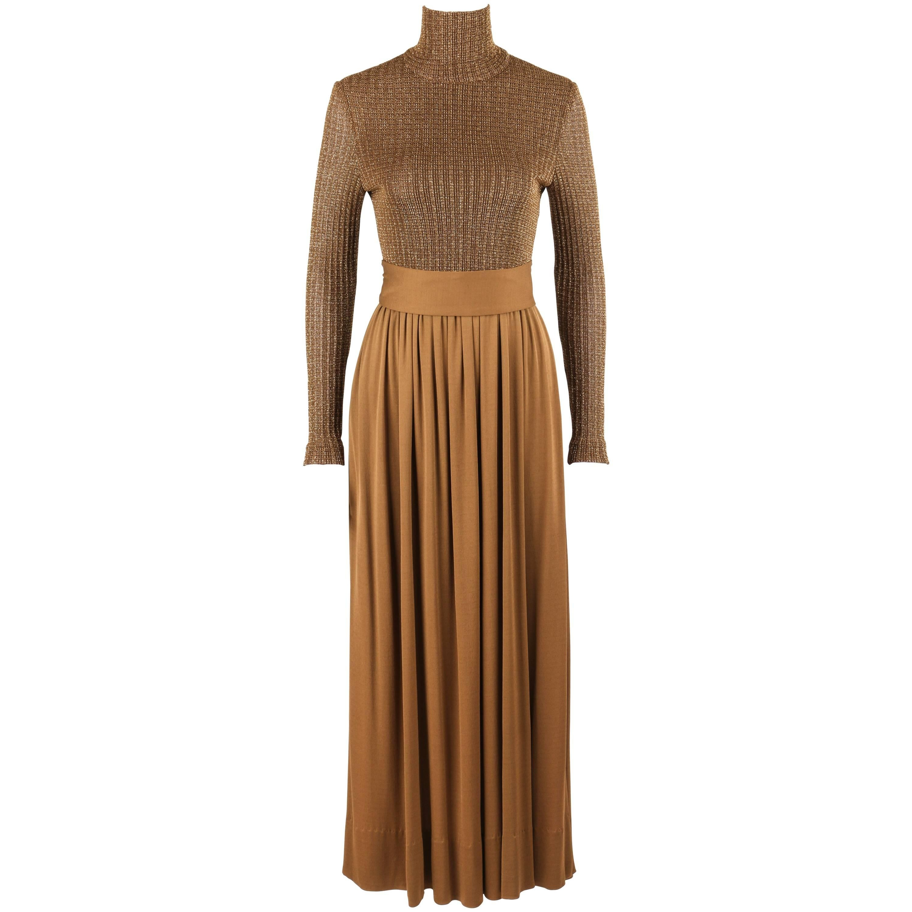 RODRIGUES c.1970's Bronze Metallic Knit Long Sleeve Cocktail Evening Gown