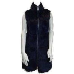Via Veneto Navy Shearling And Leather Vest