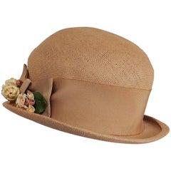 1930s Woven Straw Hat w/ Wide Ribbon